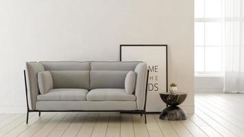 interior de una moderna sala de estar en una representación 3d foto