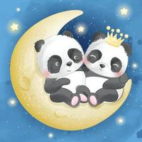 Cute pandas sitting in the moon illustration vector