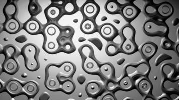 Ilustración 3d futurista patrón de transformación de superficie cromada