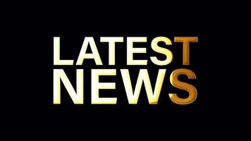 Golden Latest News Title with Shining Lights and Alpha Channel