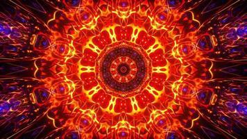 leuchtend rote, gelbe und orange leuchtende Mandala-Schleife
