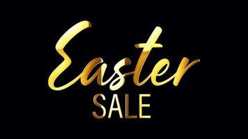 Golden EASTER SALE Title 3D Illustration With Alpha Channel video