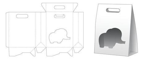 bolsa de cartón con tapa y plantilla troquelada de ventana en forma de elefante