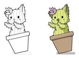 Página para colorear de dibujos animados de personaje de gato cactus para niños vector