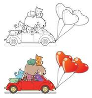 Many cats and bear with car and heart balloons cartoon easily coloring page for kids vector