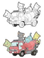 Cute cats on the truck cartoon coloring page for kids vector