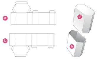 Tall hexagonal box and lid die cut template vector