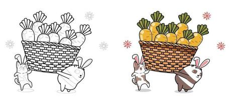 Cat and panda are lifting carrots cartoon coloring page for kids vector