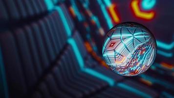 Boule de haute technologie futuriste avec espace virtuel numérique flou