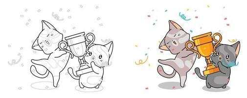 Lindos gatos están sosteniendo la página para colorear de dibujos animados de la copa ganadora para niños vector