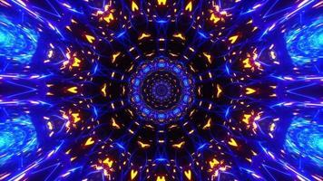 kaleidoskopisches symmetrisches Rotationsschleifenmuster aus Blaugold und Orange