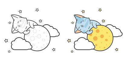 Cute cat is climbing the moon cartoon coloring page for kids vector