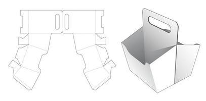 caja de doble botana con asa plantilla troquelada vector