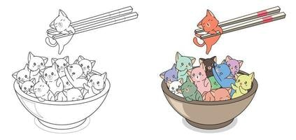 Many cats in the bowl cartoon easily coloring page for kids vector