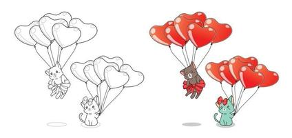 Two cats and heart balloons cartoon easily coloring page for kids vector