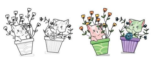 Cute cats with flowers cartoon coloring page for kids vector