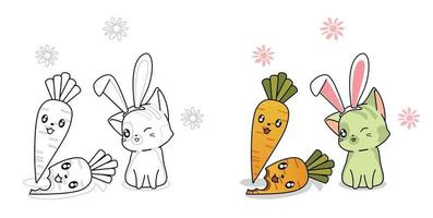 Cute cat and carrot charecter cartoon coloring page for kids vector