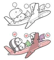 Pandas and cats get on the plane cartoon coloring page for kids vector