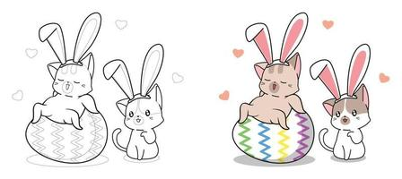 Cute bunny cats in easter day cartoon coloring page for kids vector