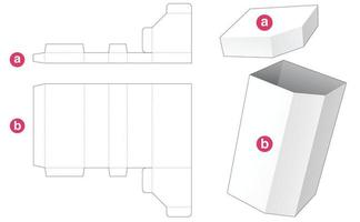 Tall chamfered box with lid die cut template vector