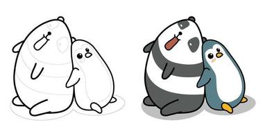 Panda and penguin cartoon coloring page for kids vector