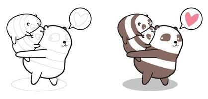 Adorable panda and baby character cartoon coloring page for kids vector