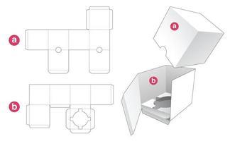 Cosmetic packaging with lid die cut template vector