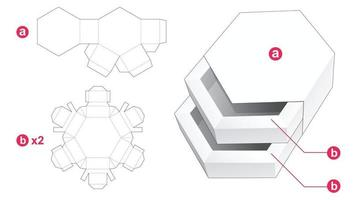 Double hexagonal shaped drawer with cover die cut template vector