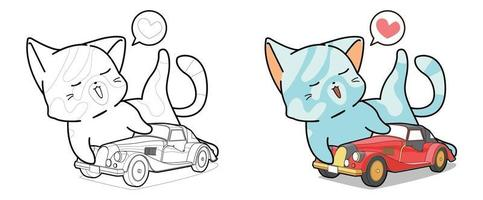 Cat is playing a car toy cartoon coloring page for kids vector