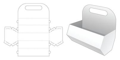 Handle snack hexagonal container die cut template vector