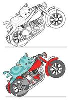 Cat is riding motorcycle cartoon easily coloring page for kids vector