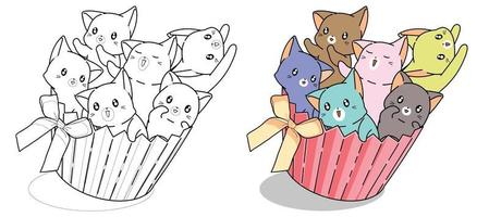 Naughty cats in cup cake with bow cartoon coloring page for kids vector