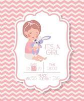 Es una tarjeta de baby shower para niña con juguete para niños y conejos. vector