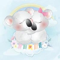 Cute koala bear couple illustration vector