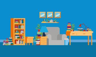 Home study room with books design vector