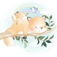 Cute foxy mother and baby illustration vector