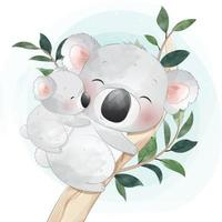 Cute koala bear mother and baby illustration vector