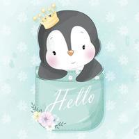 lindo pingüino sentado dentro de la ilustración del bolsillo vector