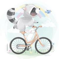 Cute raccoon with bunny illustration vector