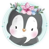 Cute penguin with floral illustration vector