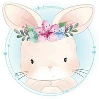 Cute bunny with floral illustration vector