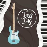 cartel del día del jazz con teclado de piano y bajo eléctrico vector