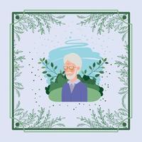 Senior citizen with herbal frame vector