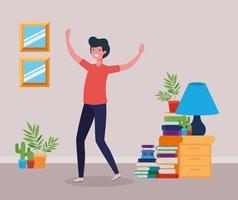 Happy man in study room design vector