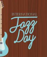 Electric bass in a wooden background vector