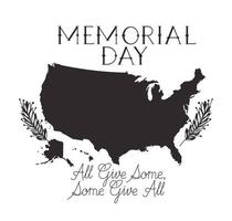 memorial day celebration with usa map vector