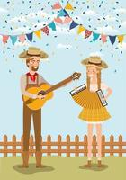 farmers couple celebrating with garlands and fence vector