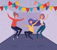 young girls dancing in the room vector