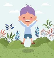 happy little boy outdoors vector