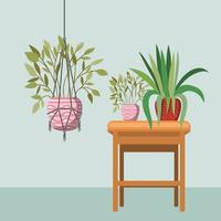 houseplant with macrame hanger and potted plants on a wooden table vector